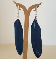 Navy Blue Goose Feather Earrings