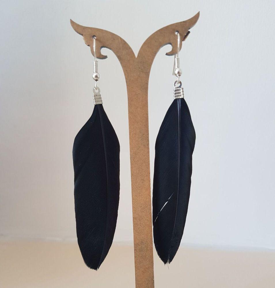 Black Goose Feather Earrings