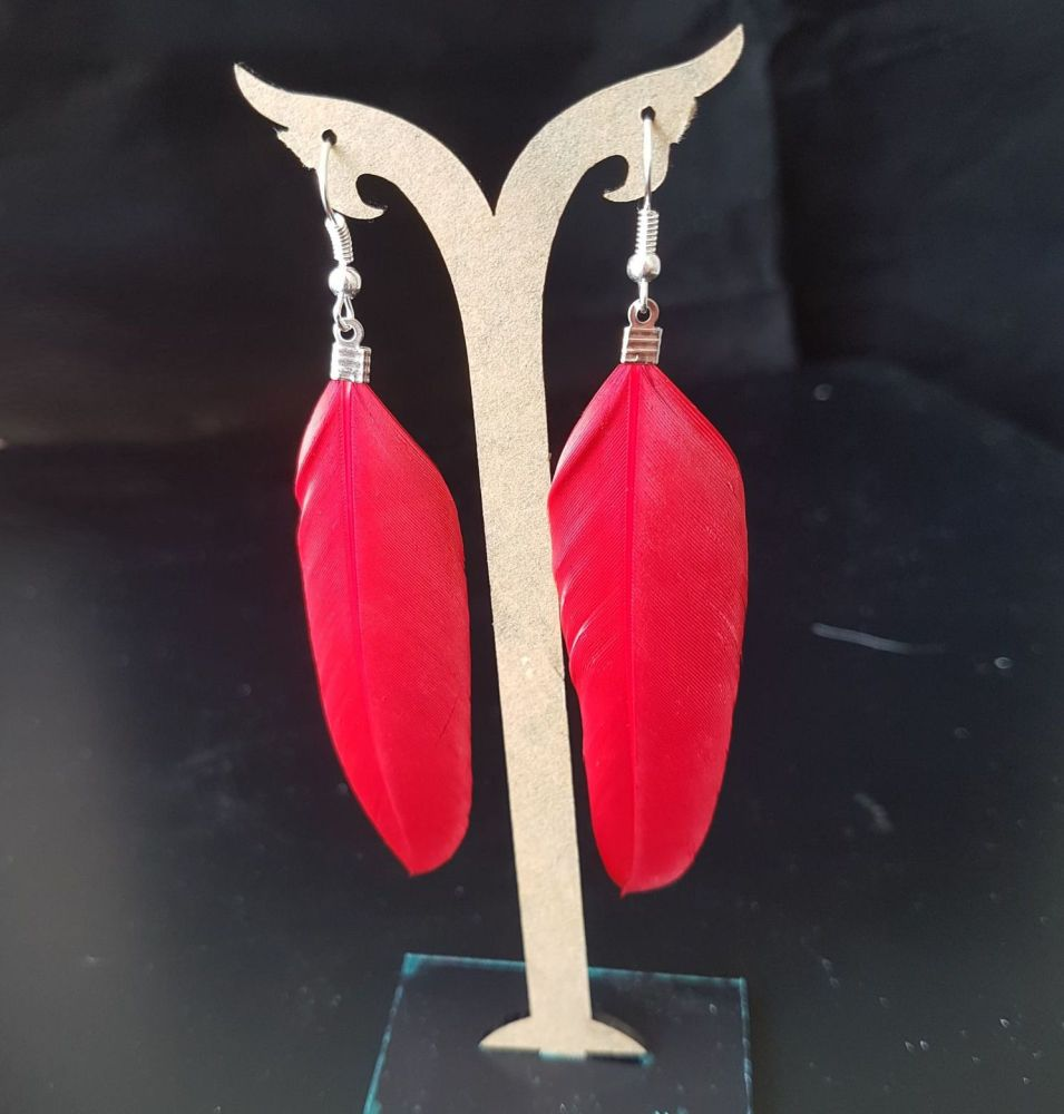 Red Goose Feather Earrings