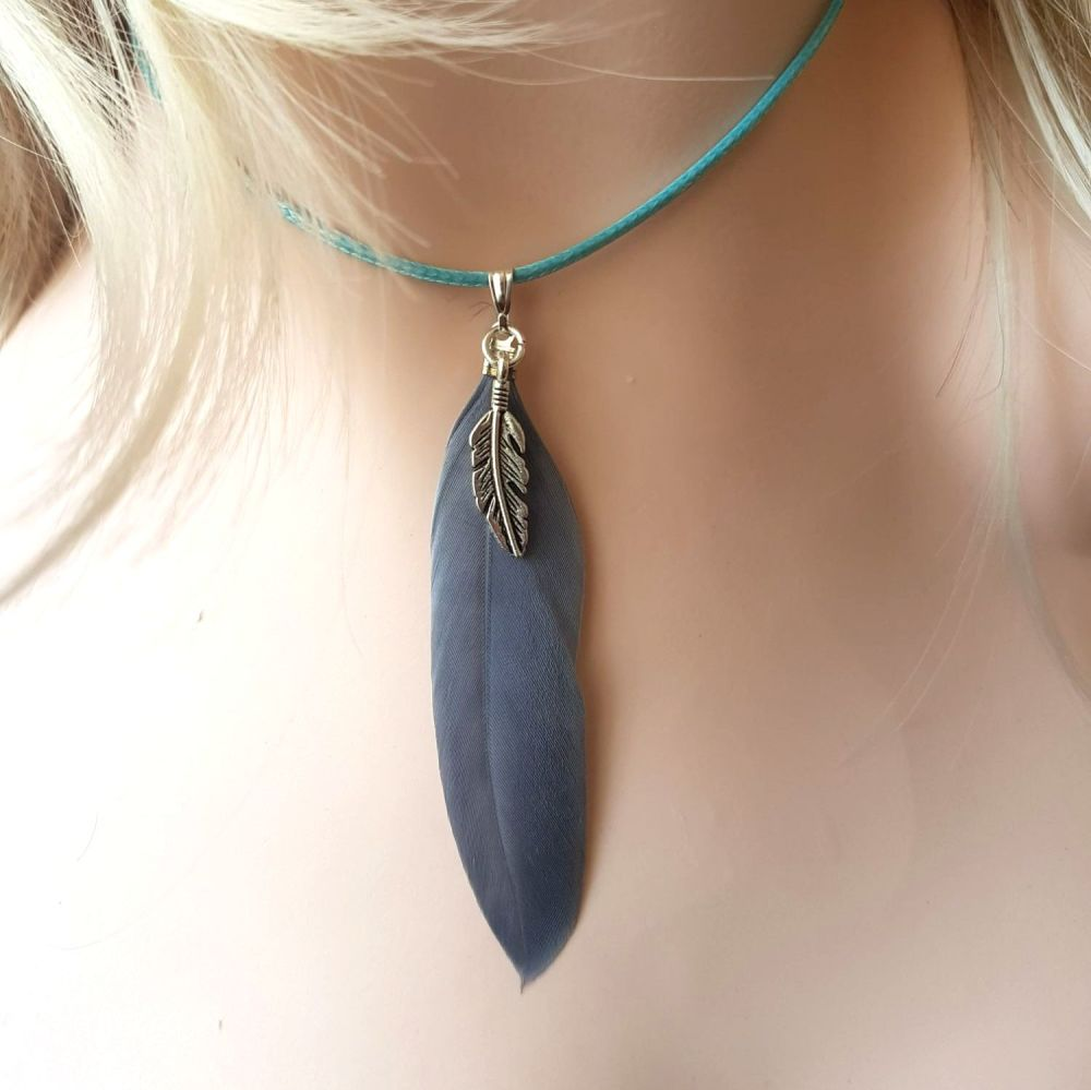 Feather Necklace, Grey and Pale Blue