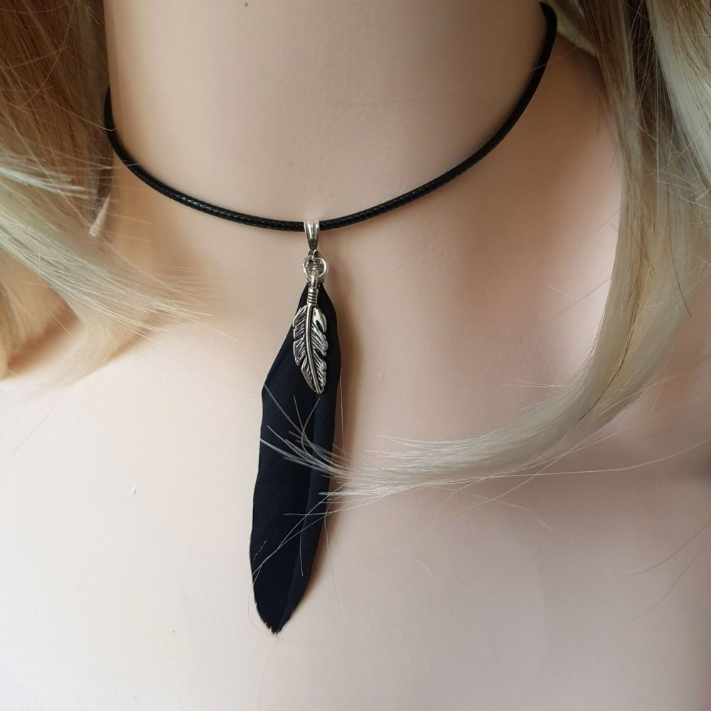 Feather Necklace, Black