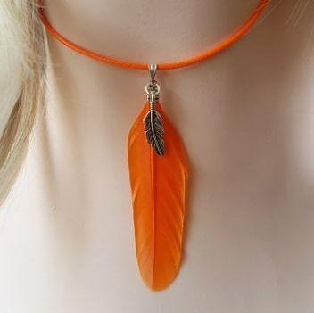 Feather Necklace, Orange