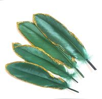 Green and Gold Goose Quill Feathers x 4