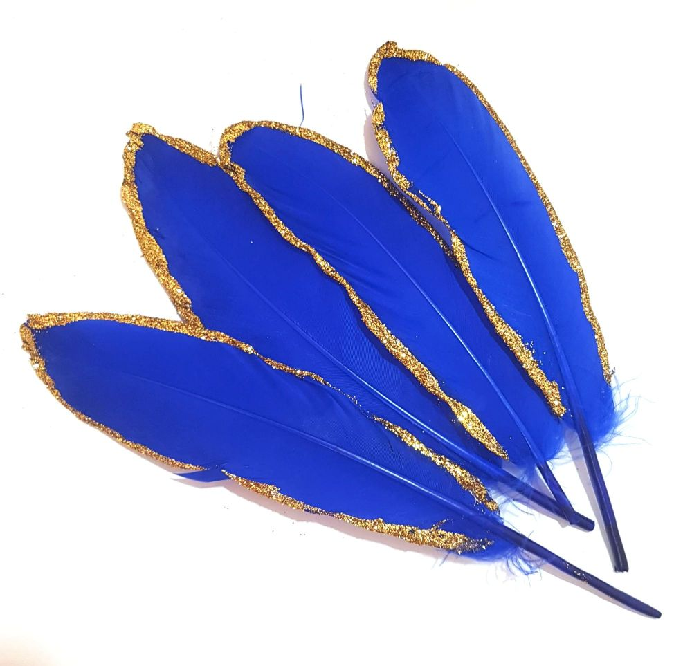 Royal Blue and Gold Goose Quill Feathers x 4