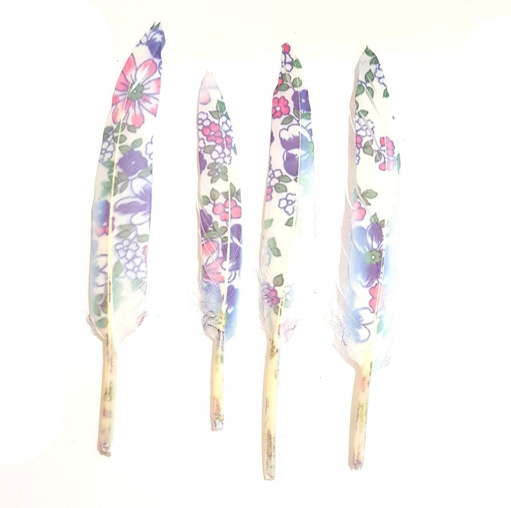 Printed Blue Floral White Goose Feathers