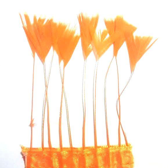 Orange Stripped Turkey Feathers, Strung x 10