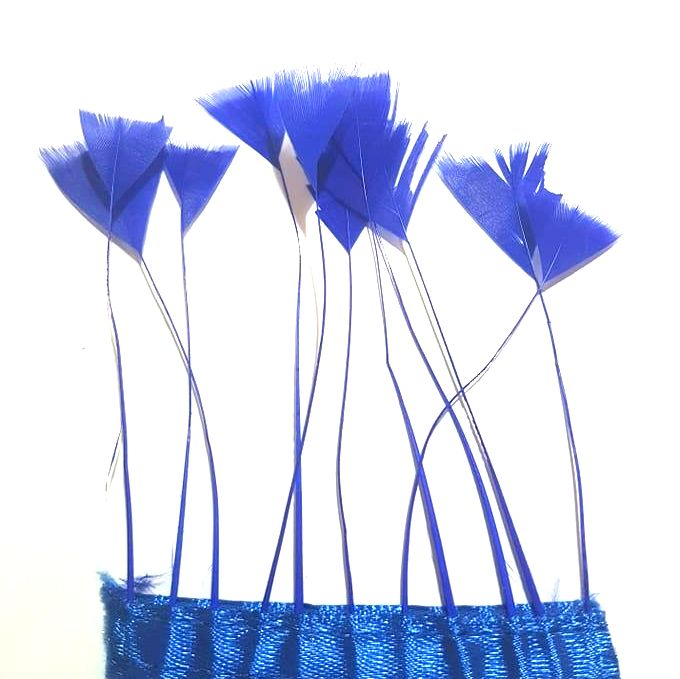 Royal Blue Stripped Turkey Feathers, Strung x 10