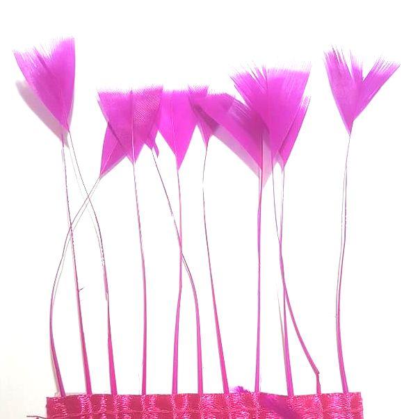 Dark Pink Stripped Turkey Feathers, Strung x 10