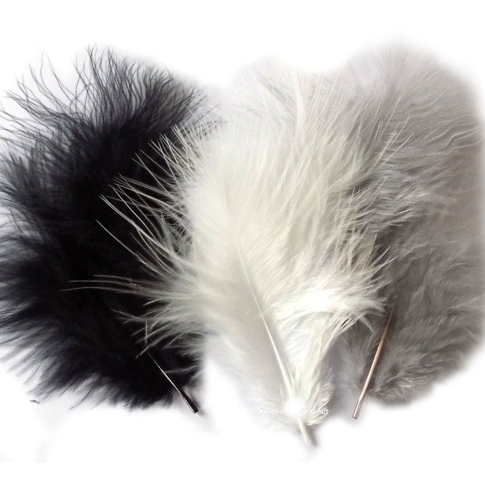 Black, White and Silver Marabou Feathers - Small