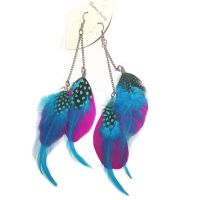 Shocking Pink and Aqua Goose Double Feather long earrings