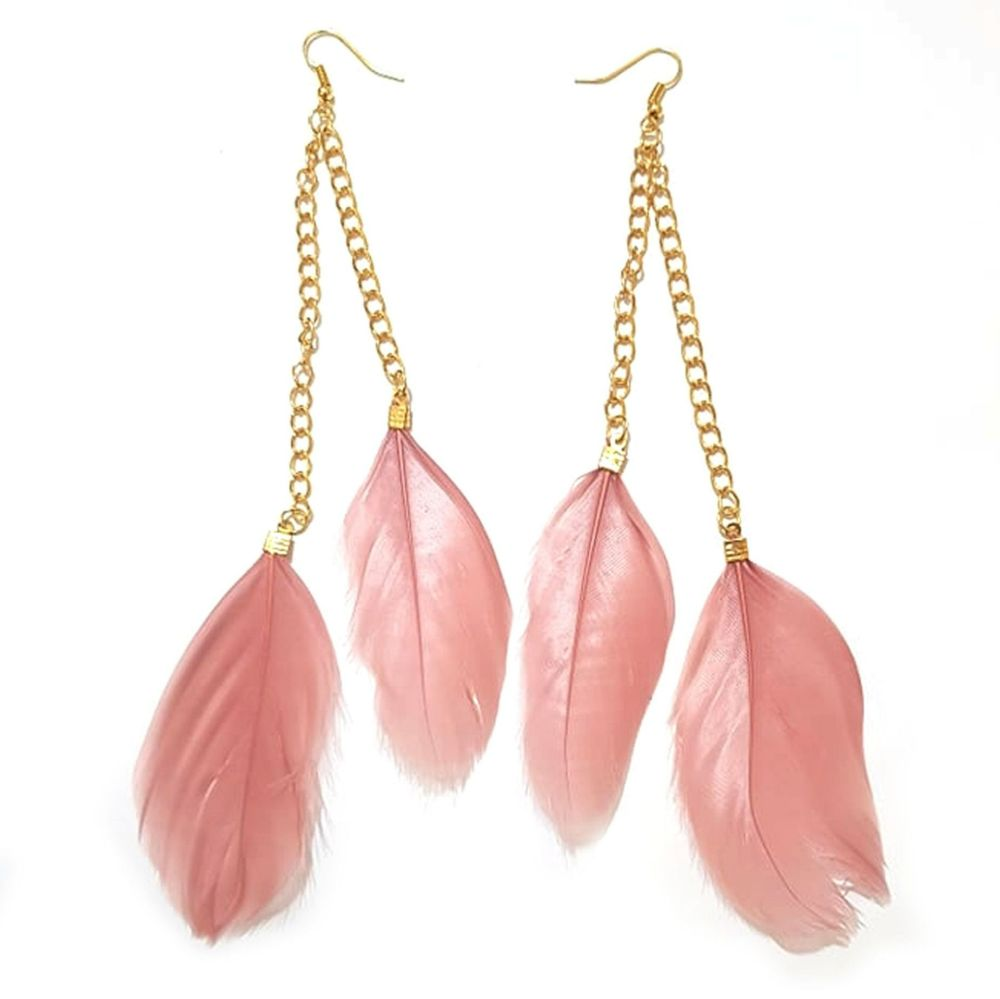 Rose Pink Feather Earrings - 2 Feathers with Gold Earring