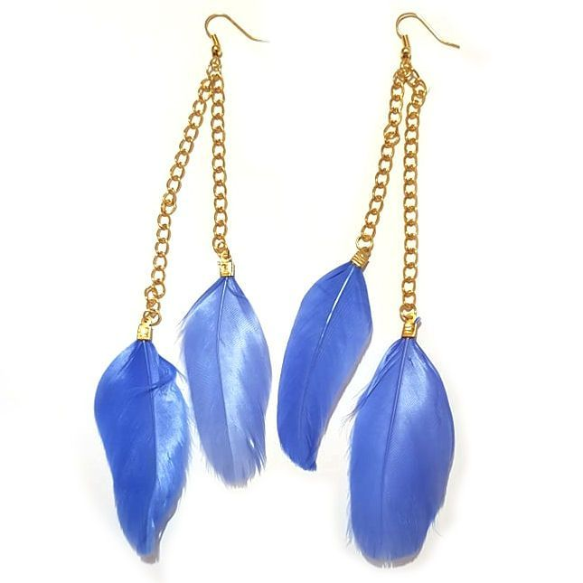 Blue Feather Earrings - 2 Feathers with Gold Earring