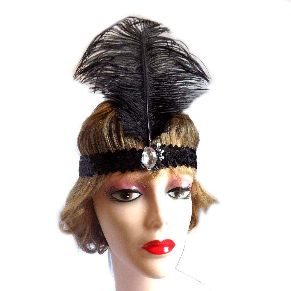 Black Feather Flapper Headband