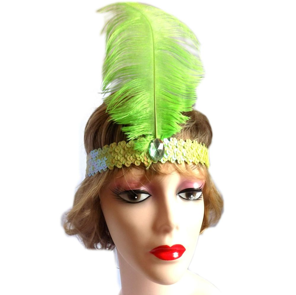 Lime Green Feather Flapper Headband