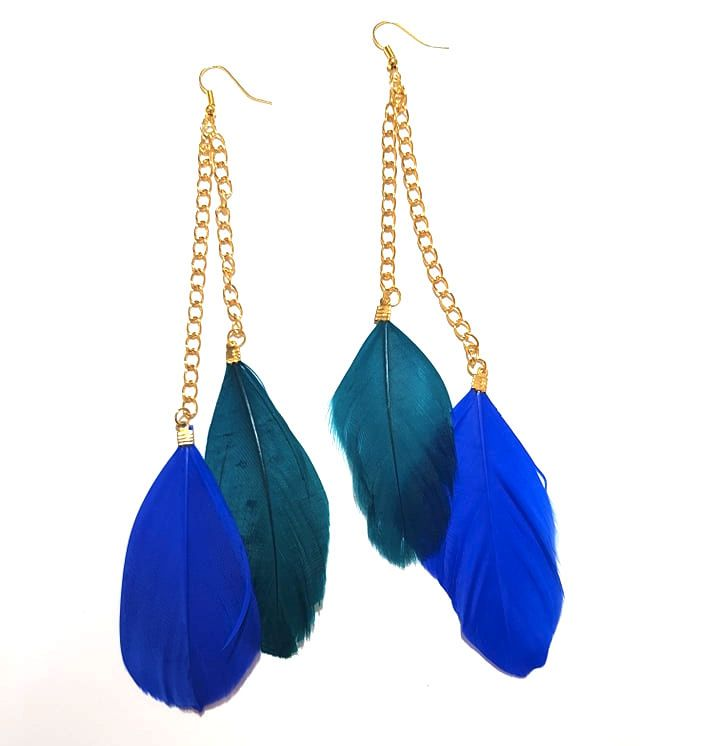 Royal Blue and Teal Feather Earrings - 2 Feathers per Gold Earring