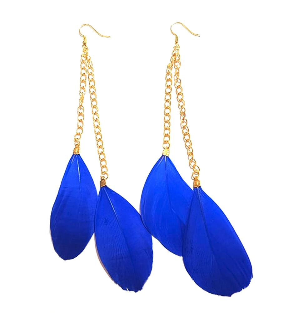 Royal Blue Feather Earrings - 2 Feathers per Gold Earring