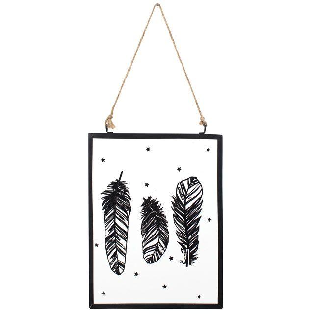 Glass Plaque - Black Feather Design Hanging Plaque