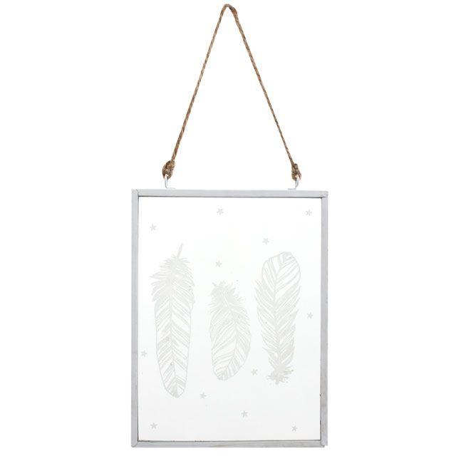 Glass Plaque - White Feather Design Hanging Plaque