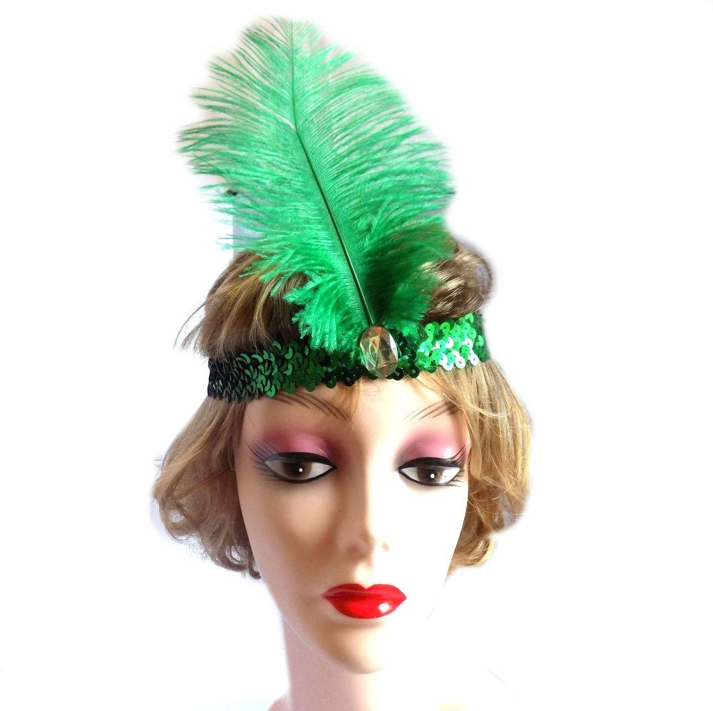 Green Feather Flapper Headband