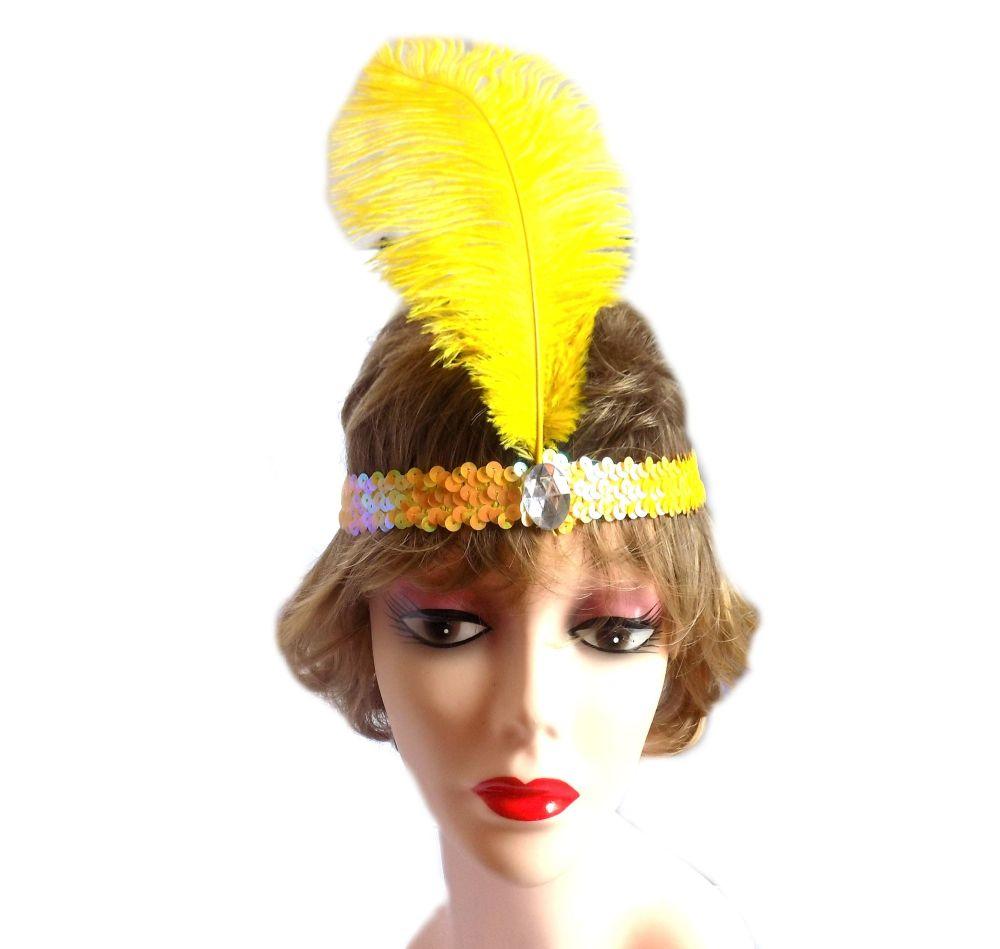 Yellow Feather Flapper Headband