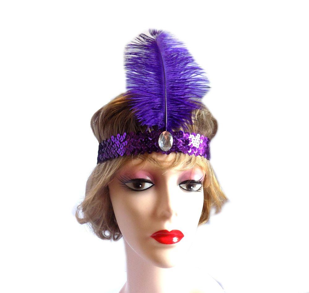 Purple Feather Flapper Headband