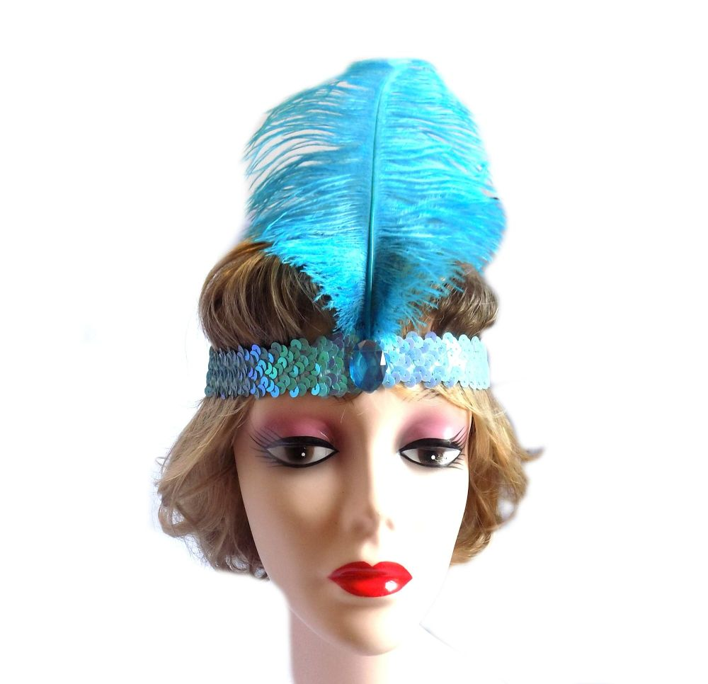 Turquoise Feather Flapper Headband