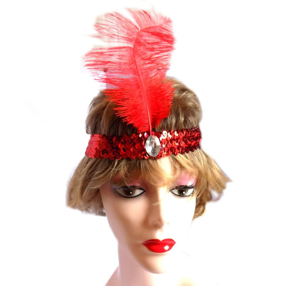 Red Feather Flapper Headband