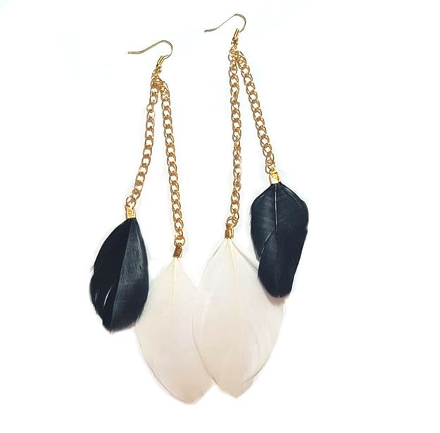 Black and White Feather Earrings - 2 Feathers per Gold Earring