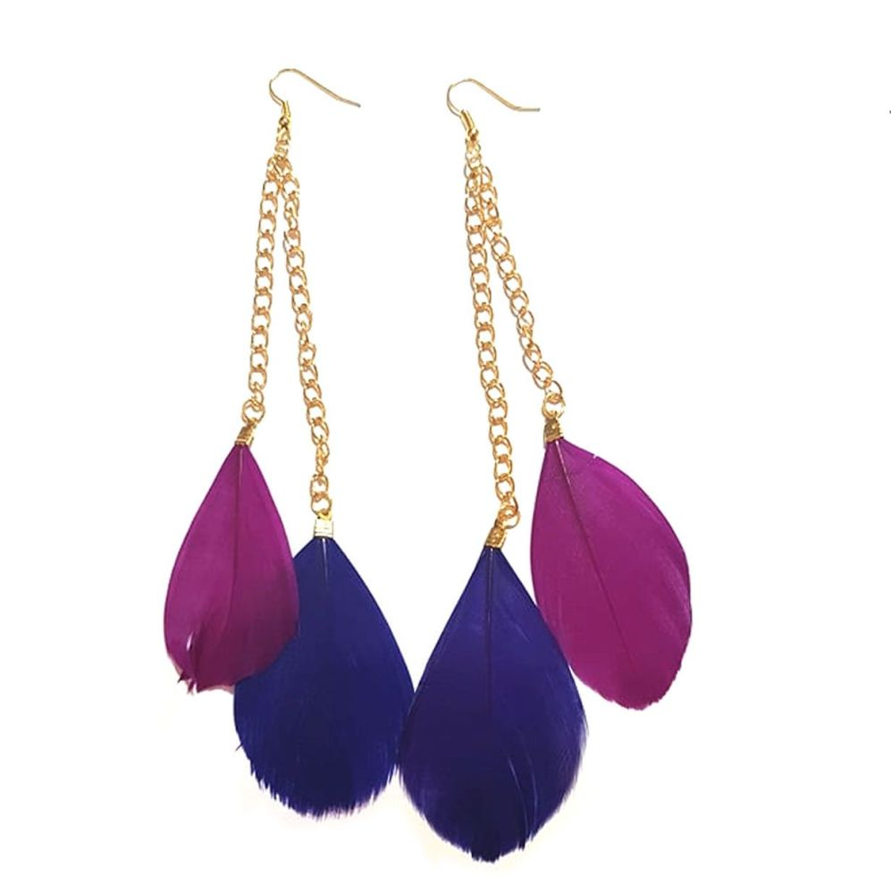 Dark Pink and Purple Feather Earrings - 2 Feathers per Gold Earring
