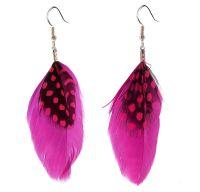 Dark Pink Feather Earrings