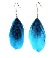 Deep Turquoise Feather Earrings