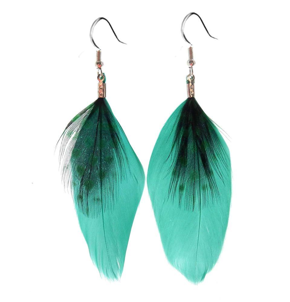 Emerald Green Feather Earrings