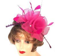 Dark Pink and Plum Purple Wedding Fascinator Clip