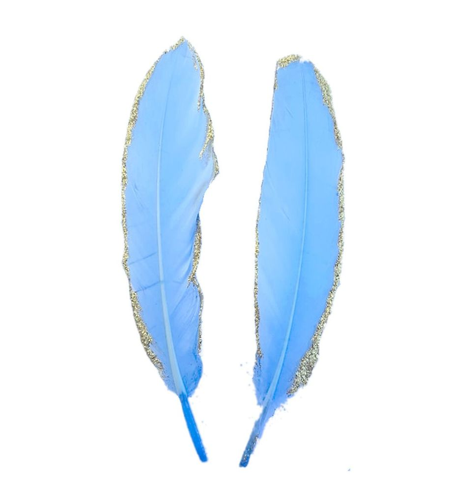Pale Blue and Gold Goose Quill Feathers x 4