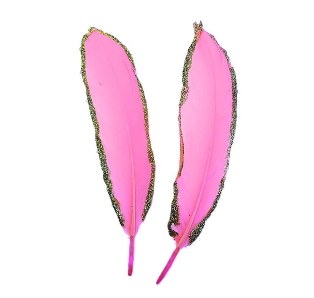 Candy Pink and Gold Goose Quill Feathers x 4