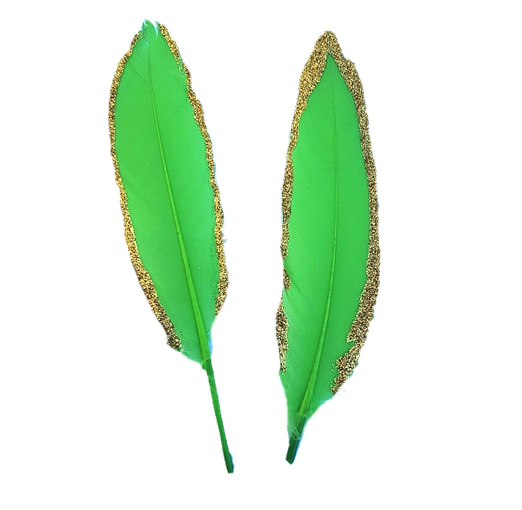 Lime Green and Gold Goose Quill Feathers x 4