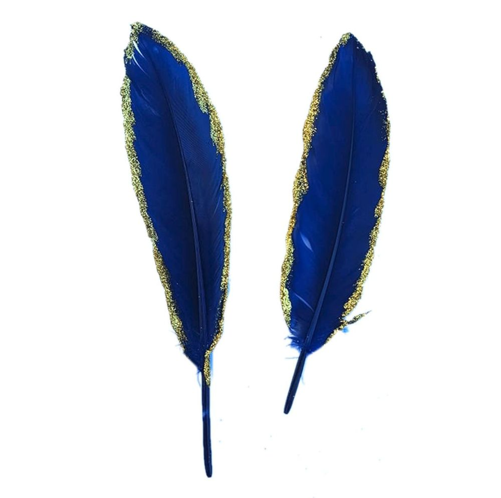 Navy Blue and Gold Goose Quill Feathers x 4