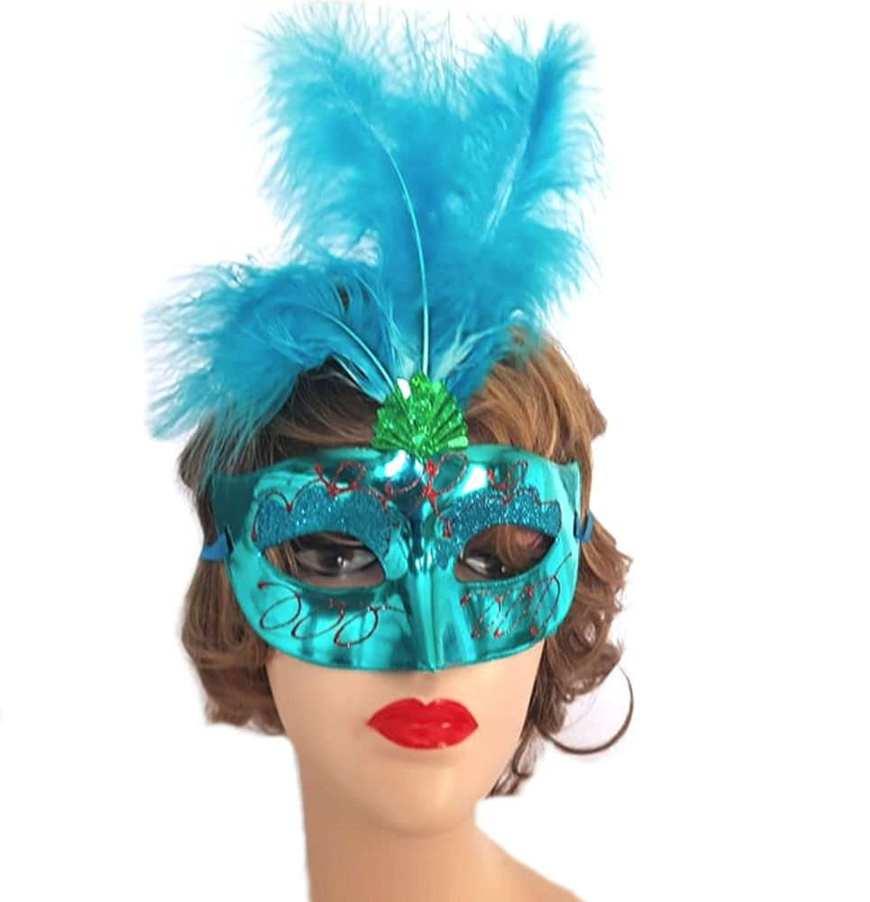 Blue Masquerade Party Feather Costume Mask