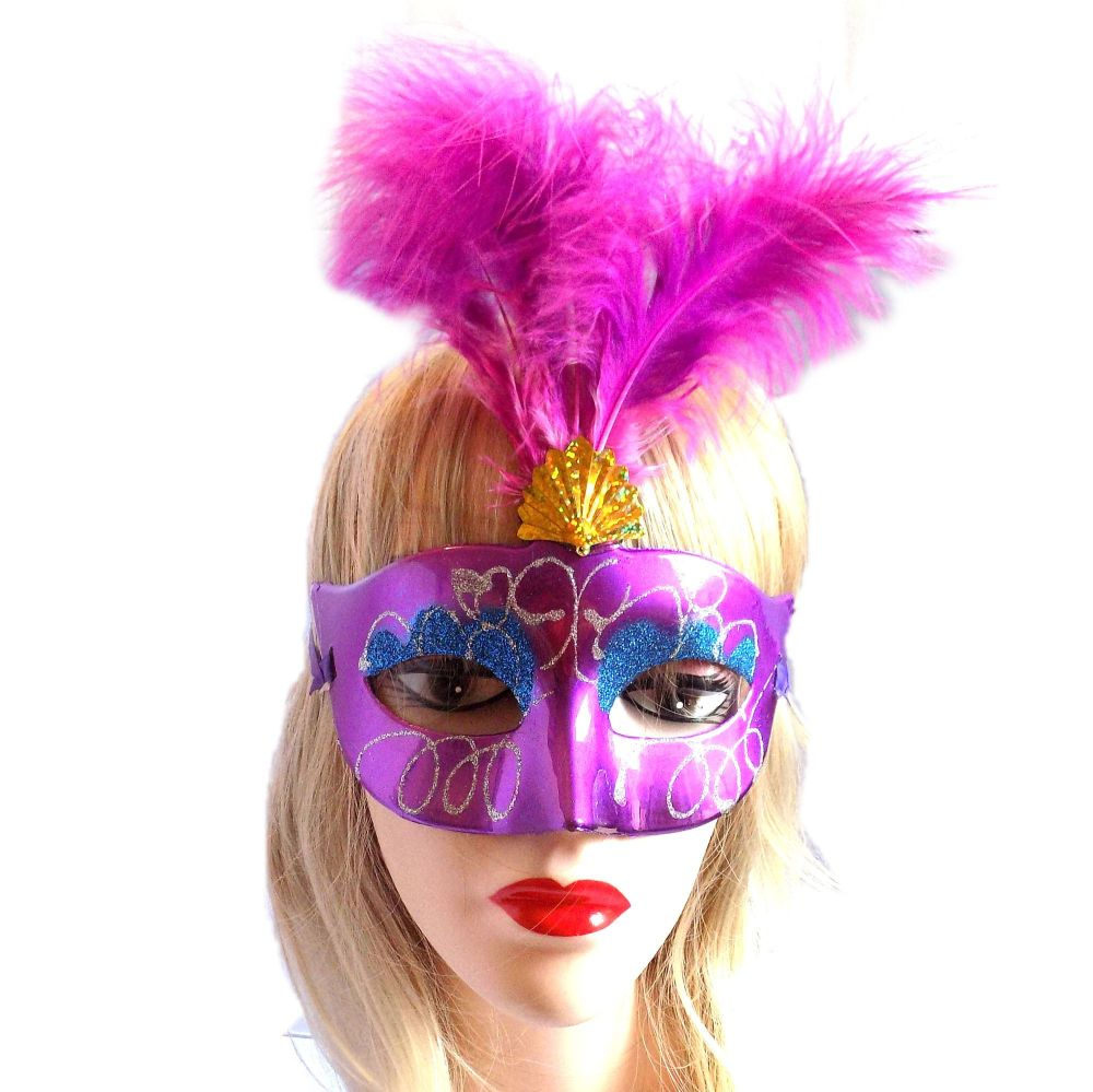 Purple Masquerade Party Feather Costume Mask