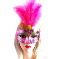 Pink Masquerade Party Feather Costume Mask