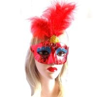 Red Masquerade Party Feather Costume Mask