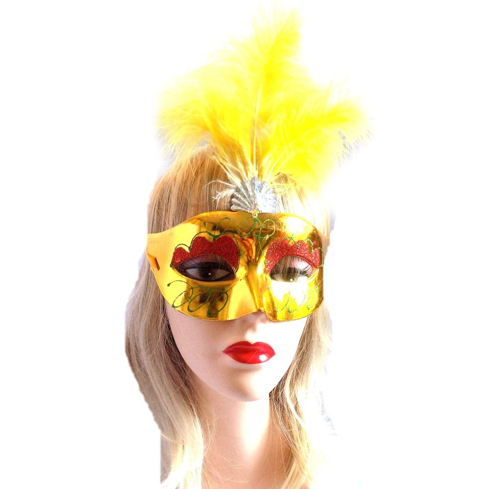 Yellow Masquerade Party Feather Costume Mask