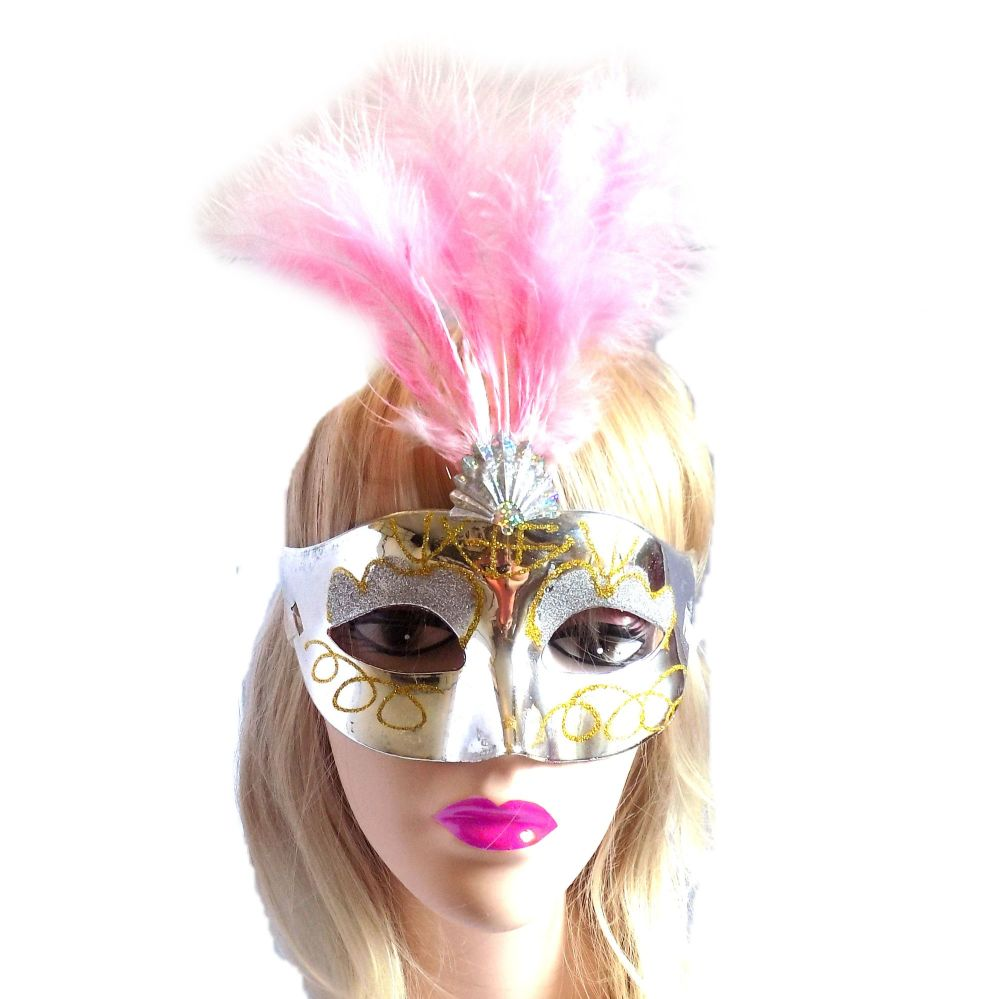 Silver and Pink Masquerade Party Feather Costume Mask