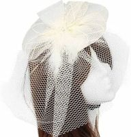 Ivory Veil Wedding Fascinator Clip