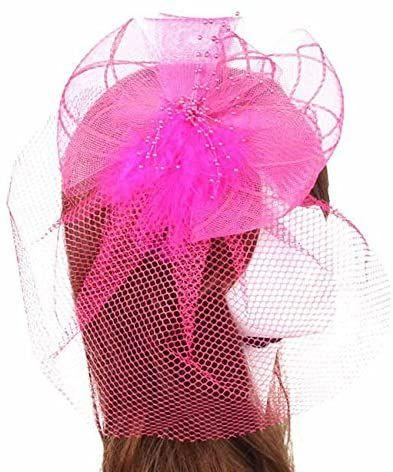 Dark Pink Veil Wedding Fascinator Clip