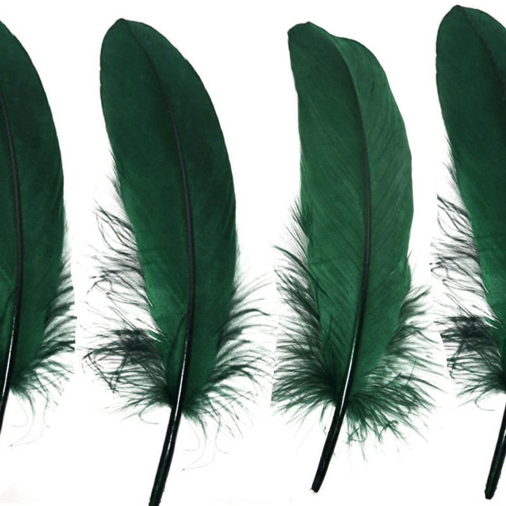Hunter Green Goose Quill Feathers x 4