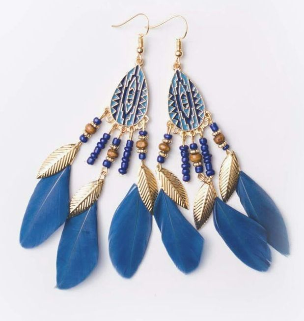 Blue and Gold Feather Earrings with Beaded Tribal Detail
