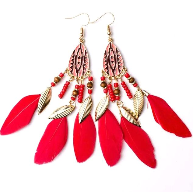 Red and Gold Feather Earrings with Beaded Tribal Detail