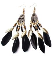 Black and Gold Feather Earrings with Beaded Tribal Detail