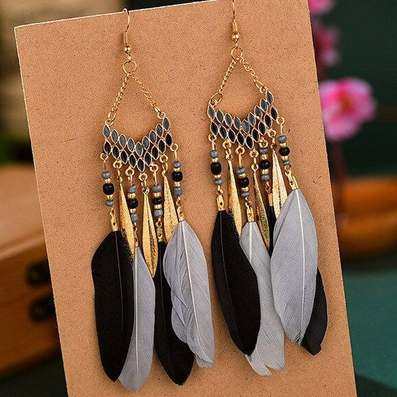 Black, Grey and Gold Feather Earrings with Beaded Tribal Detail